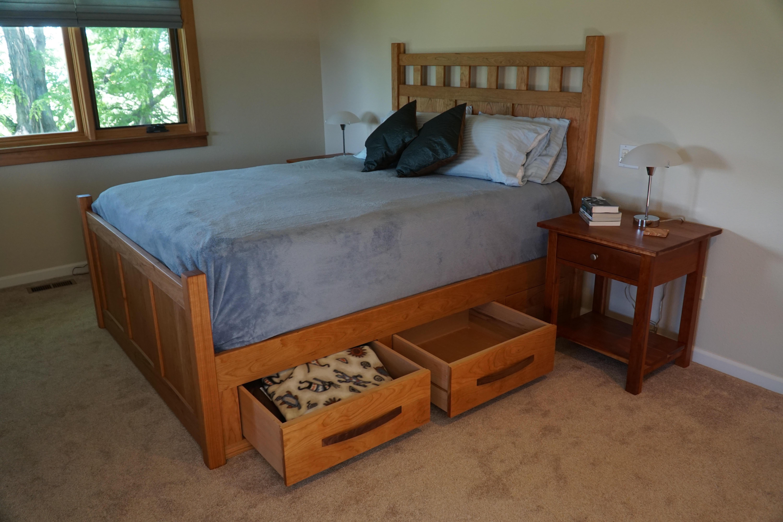 bed cherry queen ballard underbed craftsman | boulder furniture arts