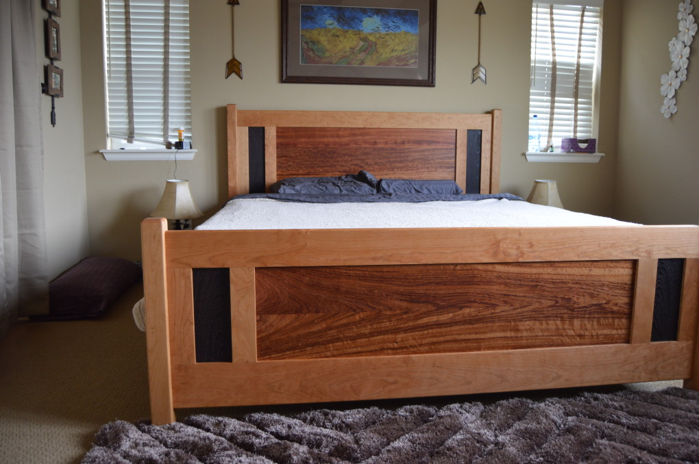 "Solid Cherry ""Raised Panel"" King Bed with Turquoise Inlay"