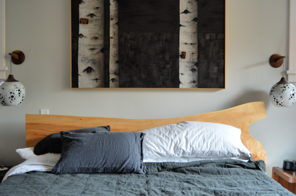"Solid Maple ""Flatiron"" King Bed with LiveEdge Headboard"
