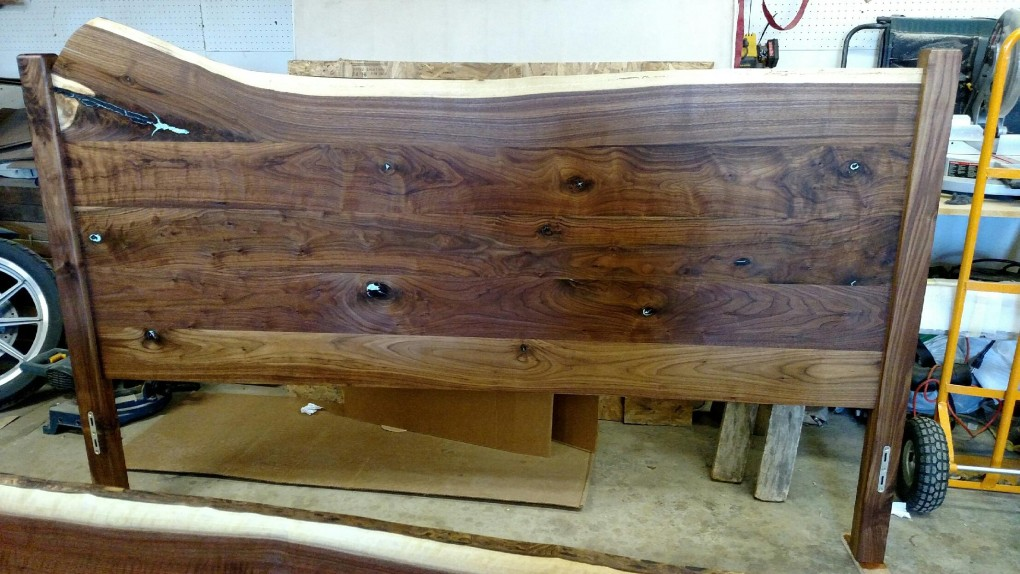 Solid Walnut LiveEdge King Bed with Turquoise Inlay