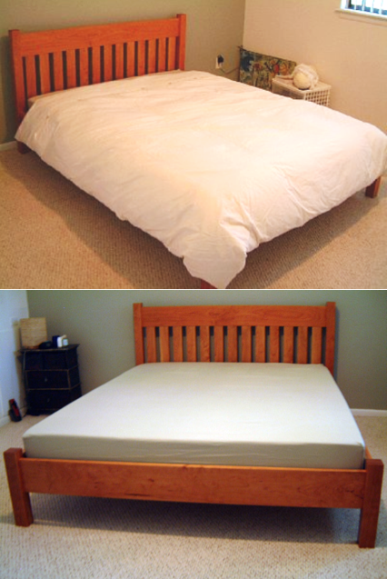 "Solid Cherry ""Mission"" Queen Bed with Rail-Style Foot"