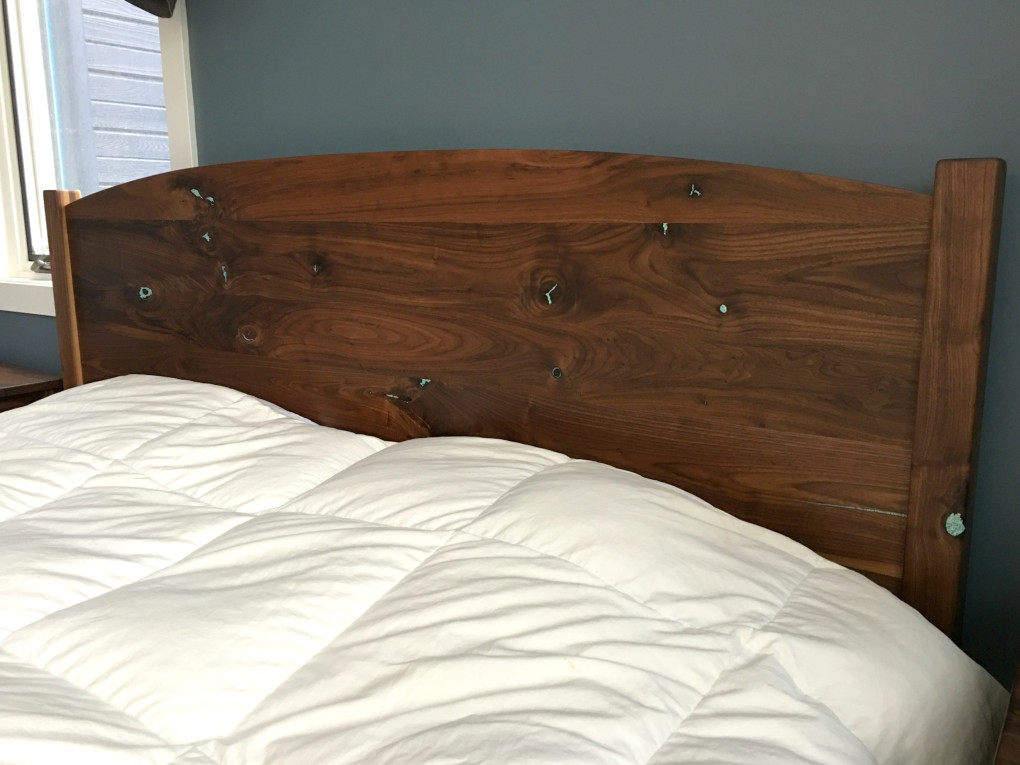 "Solid Walnut ""Solid Arch"" King Bed with Turquoise Inlay"
