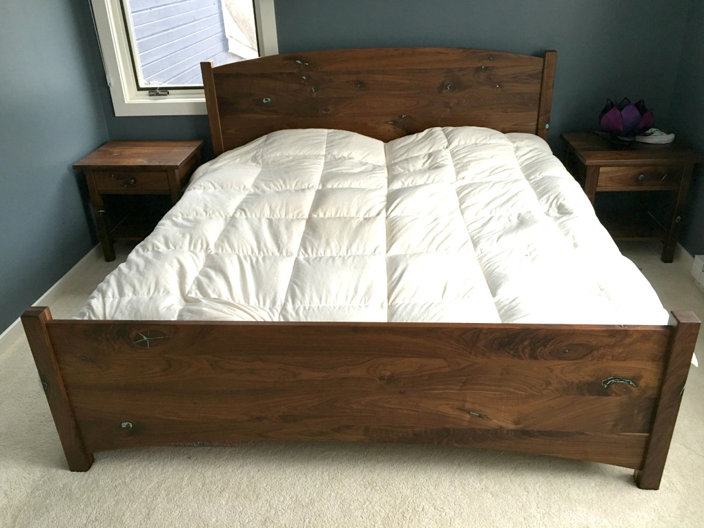 """Solid Walnut """"Solid Arch"""" King Bed with Turquoise Inlay"""