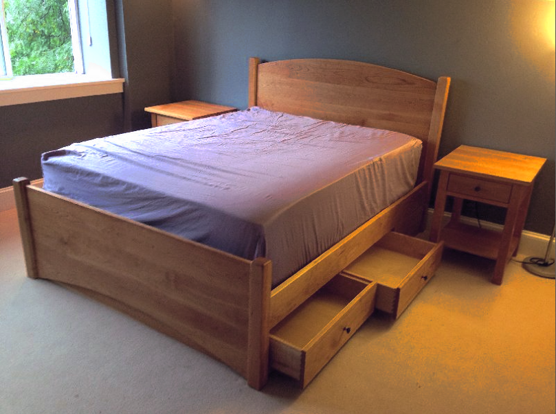 "Cherry ""Slat Arch"" Queen Bed with Underbed Storage"
