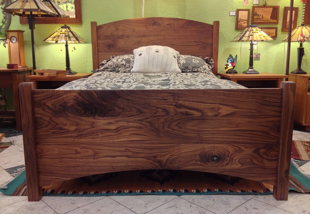 "Solid Walnut ""Solid Arch"" Full Bed (Turquoise Inlay)"