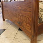 Solid Walnut Footboard with Turquoise Inlay