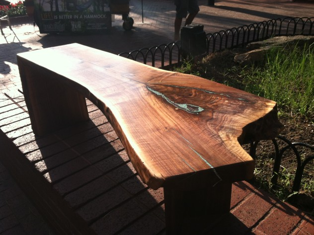 "Solid Walnut ""Flatiron"" LiveEdge Coffee Table with Turquoise Inlay, Waterfall and Wood V Legs"