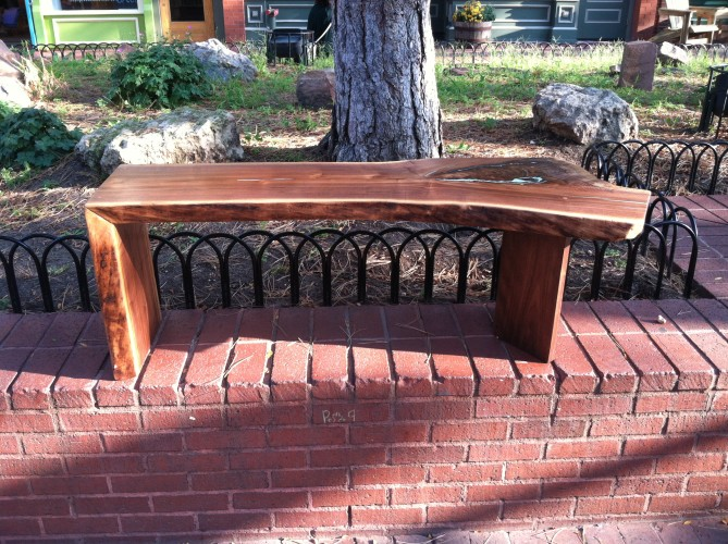 LiveEdge Walnut Coffee Table with Waterfall & Turquoise