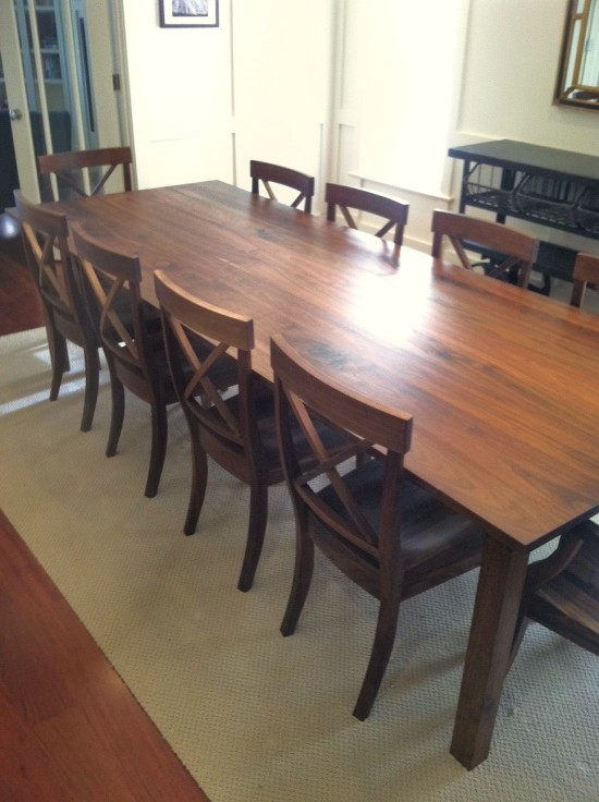 "Solid Walnut ""Prairie"" Table with Straight Aprons + Square Legs"