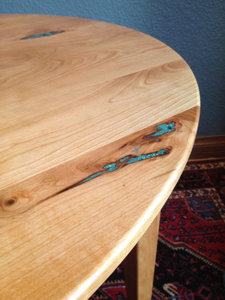 Turquoise Inlay in Freshly Finished Cherry