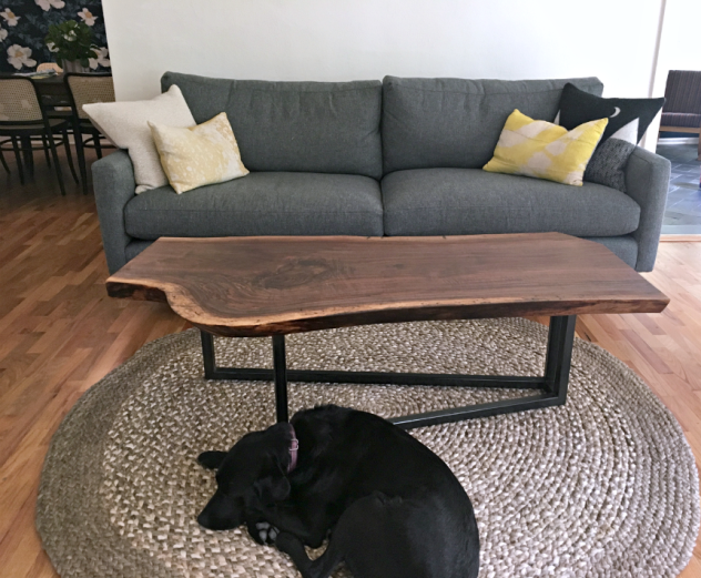 "Solid Walnut ""Flatiron"" LiveEdge Coffee Table on Steel V Base"