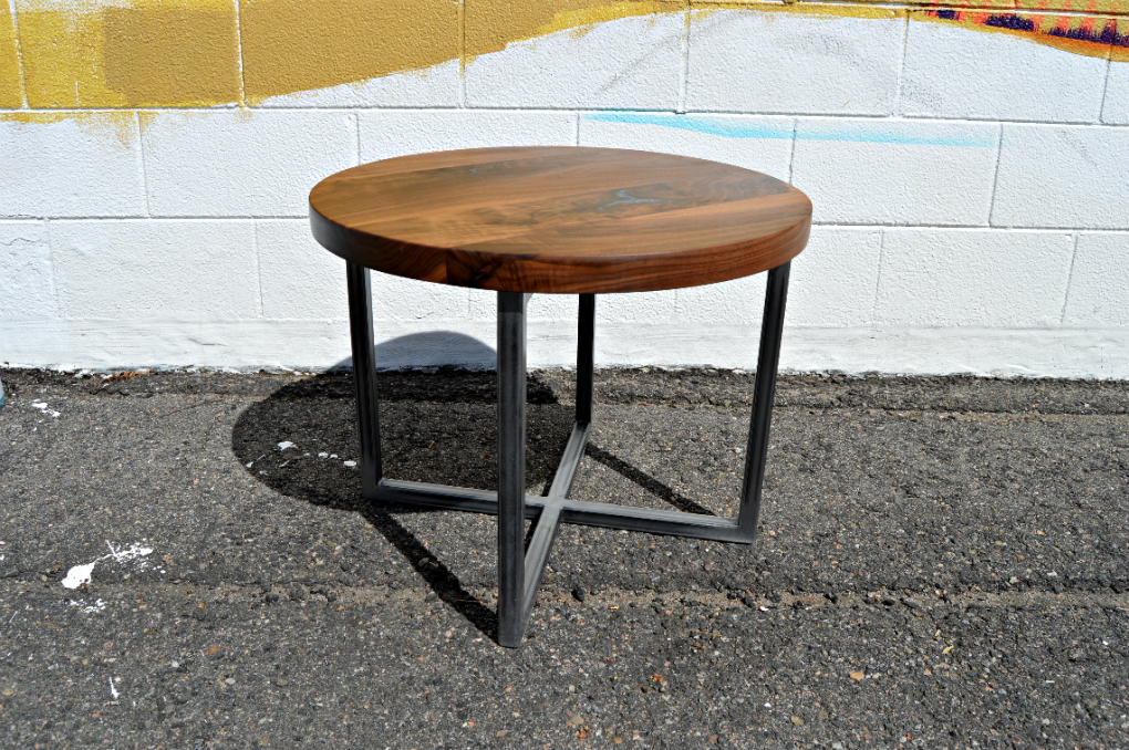 """Solid Walnut """"Flatiron"""" Round End Table with Sodalite Inlay on Steel X Base"""