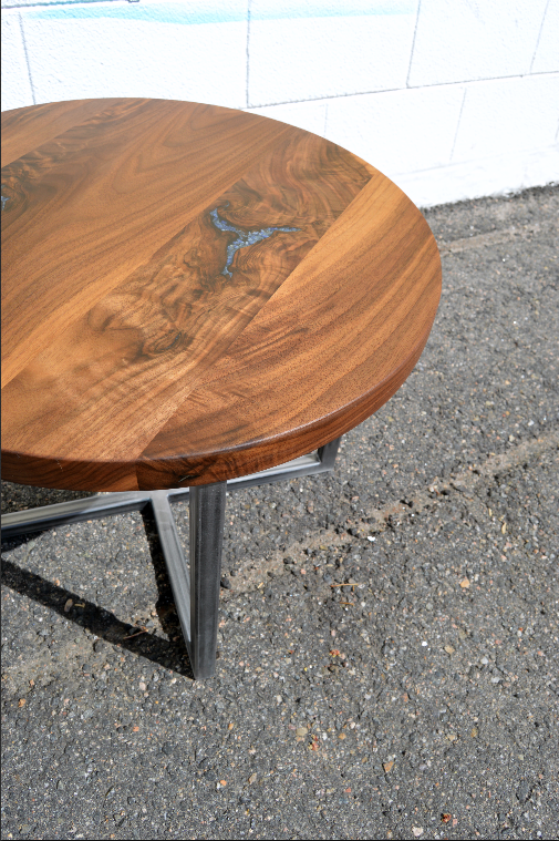 "Solid Walnut ""Flatiron"" Coffee Table with Sodalite Inlay"