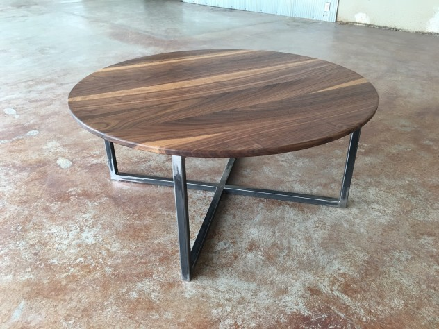 "Solid Walnut ""Flatiron"" Coffee Table on Steel Base"
