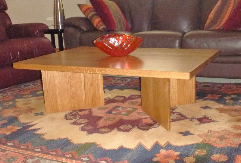 """Solid White Oak """"Flatiron"""" Coffee Table (Stained)"""