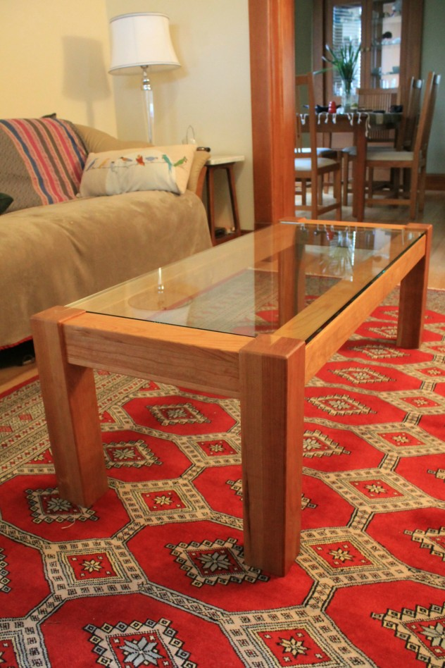Solid Cherry Coffee Table with Glass Top