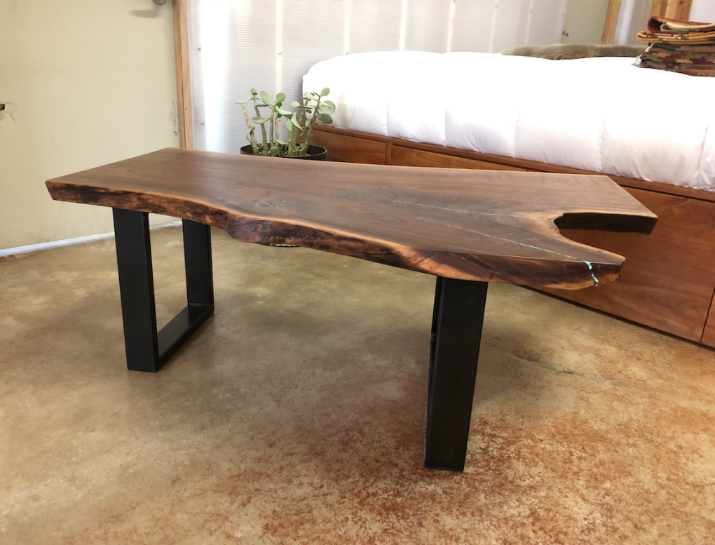 "Solid Walnut ""Flatiron"" Single Slab Coffee Table with Turquoise Inlay on Steel Legs"