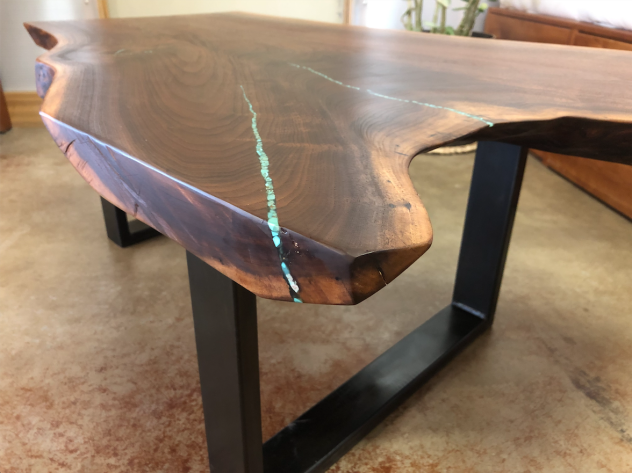 "Solid Walnut ""Flatiron"" LiveEdge Coffee Table with Turquoise Inlay on Steel U Legs"