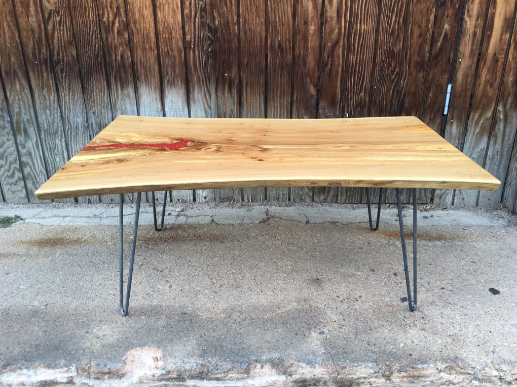 Solid LiveEdge Elm Table with Coral Inlay