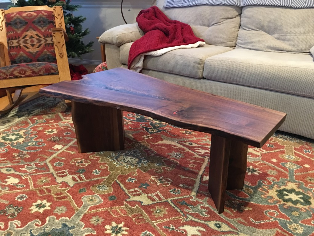 Amazing LiveEdge Walnut Coffee Table With Coral Inlay