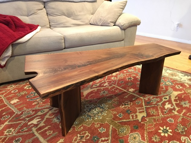 LiveEdge Walnut Coffee Table with Coral Inlay