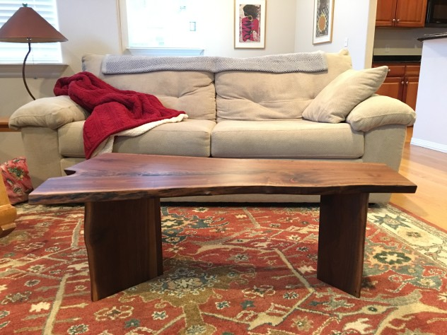 "Solid Walnut ""Flatiron"" LiveEdge Coffee Table with Carnelian Inlay + Wood V Legs"