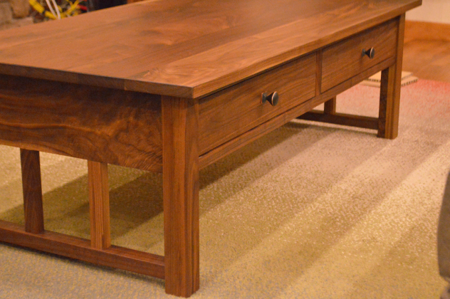 "Walnut ""Mission"" Coffee Table with Drawers"