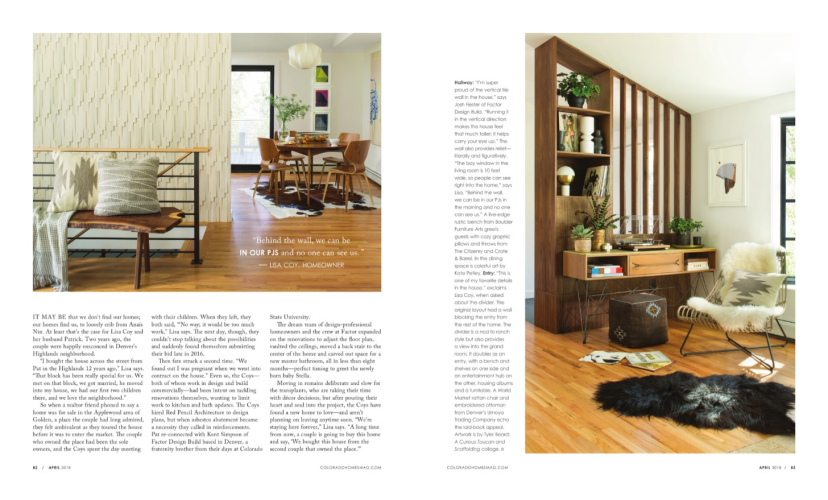 Colorado Homes Magazine Feature April 2018 Article