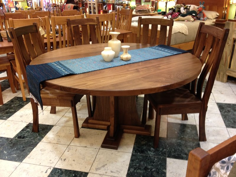 "Solid Walnut ""Craftsman"" Pedestal Table with Extra-thick Top"