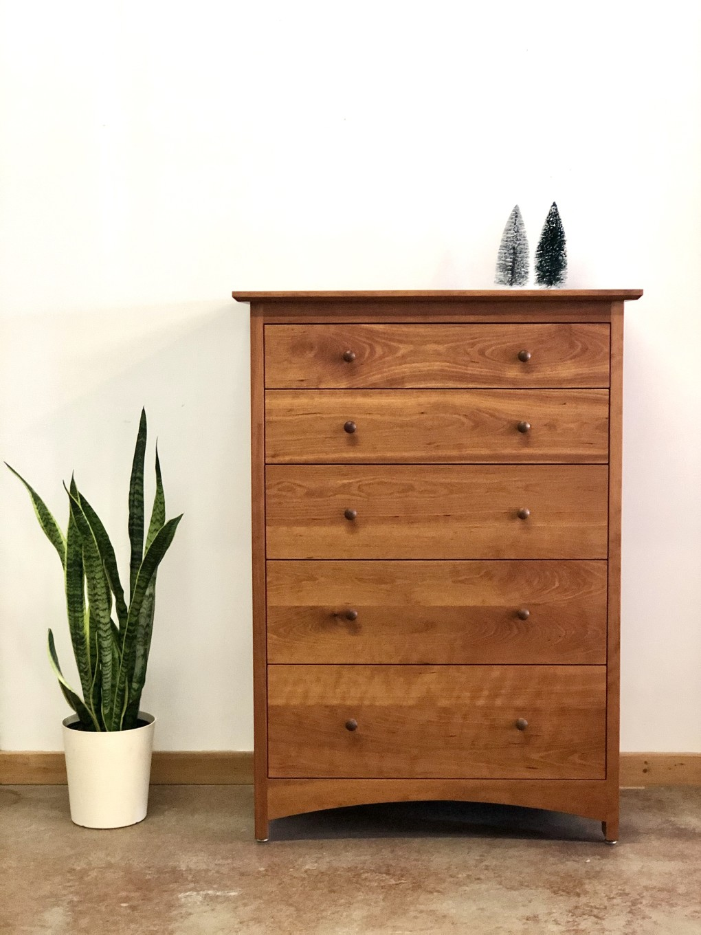 "Cherry ""Prairie"" 5-Drawer Tall Dresser"