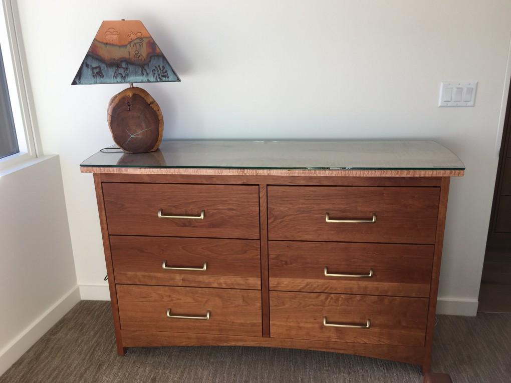 "Cherry ""Prairie"" 6-Drawer Wide Dresser + Ambrosia Maple Top + Glass Top"