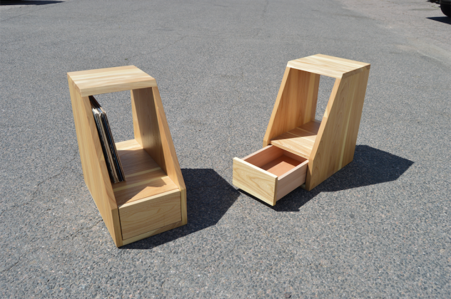 "Solid Elm ""Flatiron"" End Tables with LP Storage"