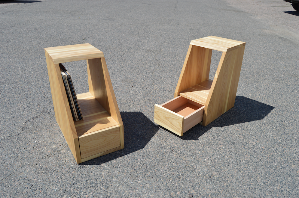 "Solid Elm ""Flatiron"" Angled End Tables with LP Storage"