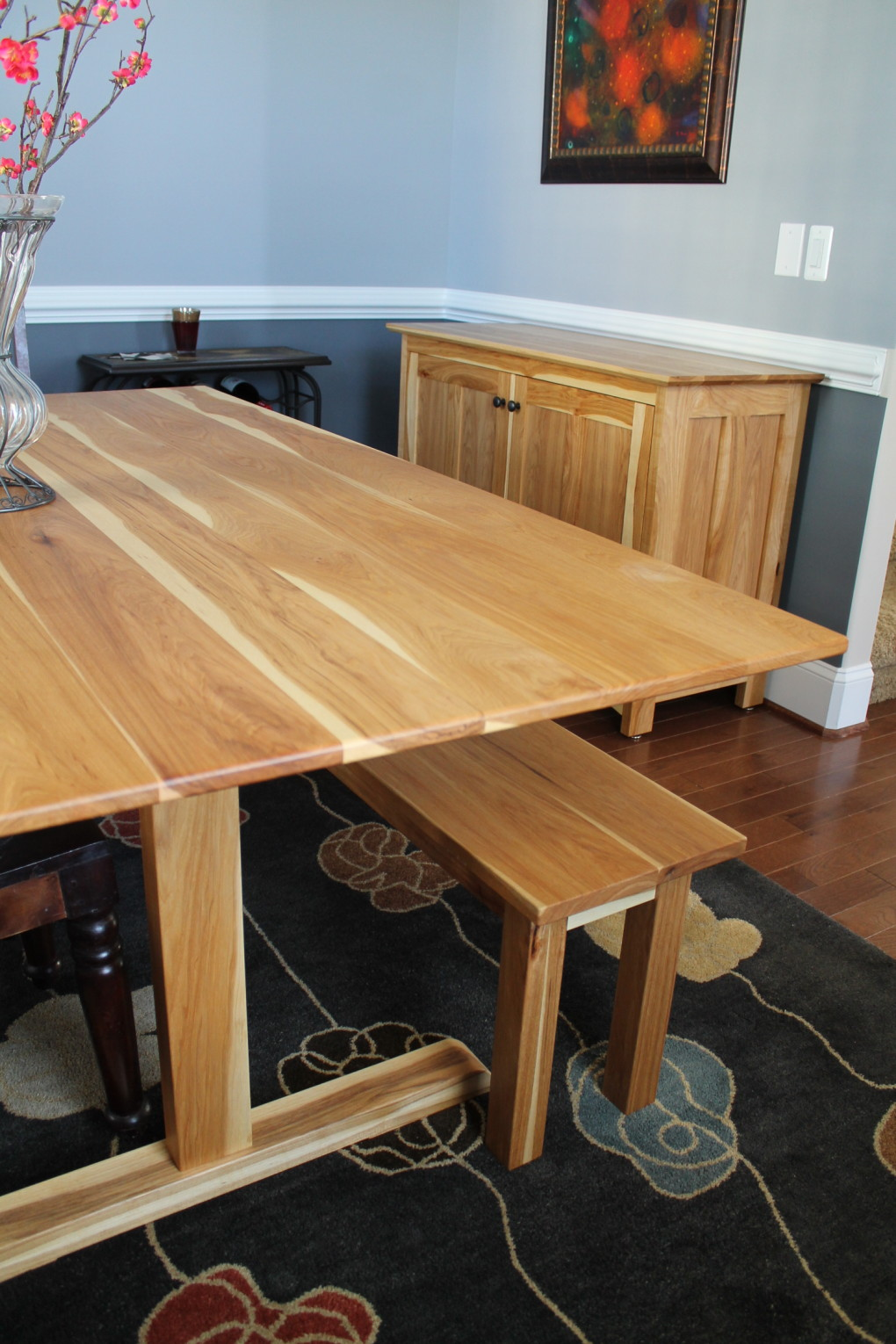 "Solid Hickory ""Shaker"" Trestle Table"