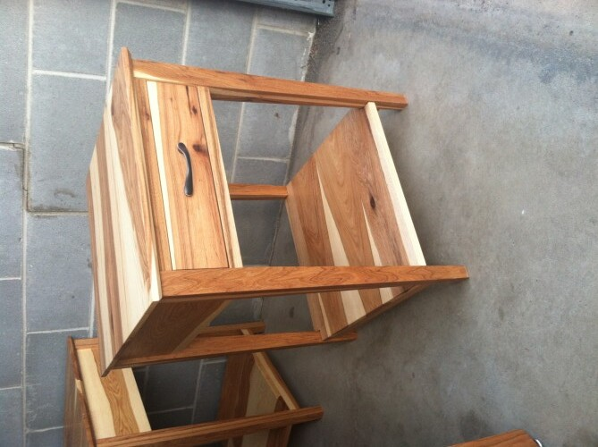 """Custom Hickory """"Prairie"""" Nightstands with Coral Inlay"""