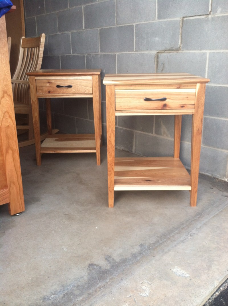 "Custom Hickory ""Prairie"" Nightstands with Coral Inlay"