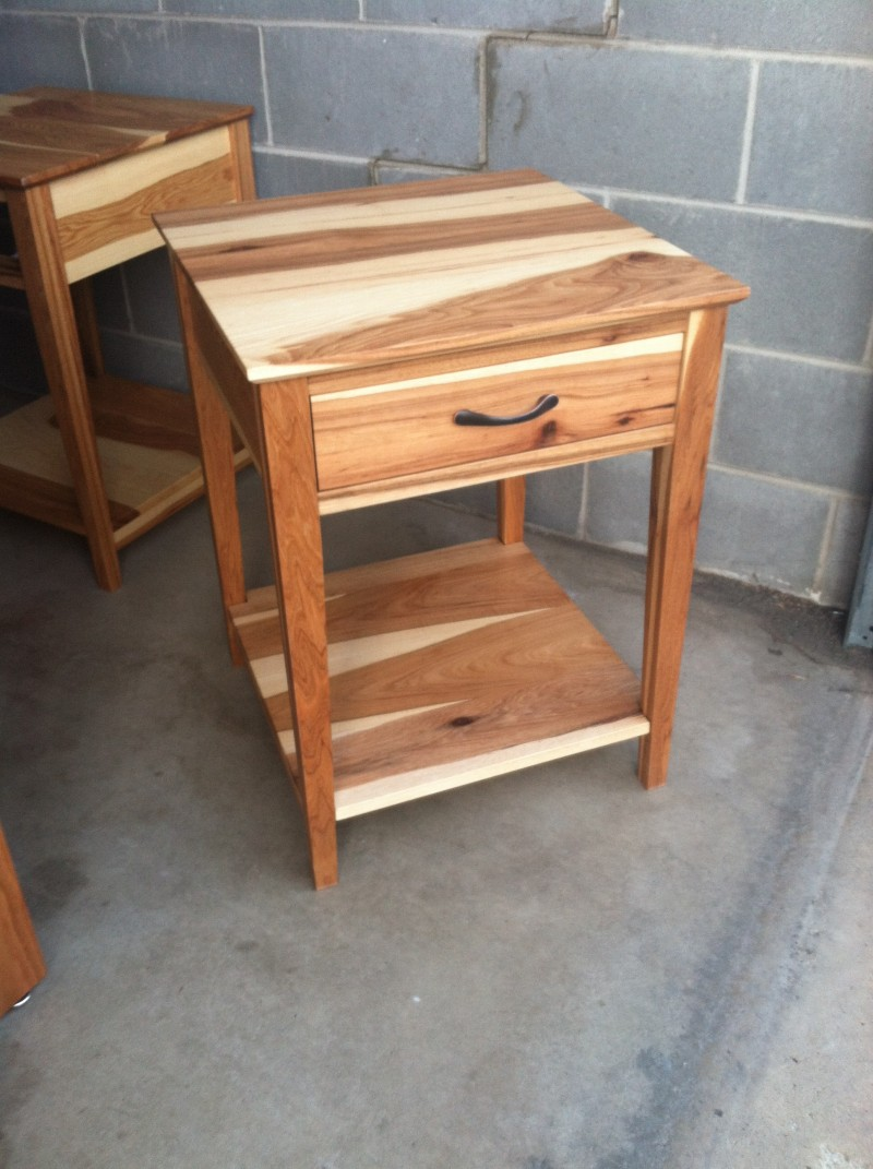 "Custom Hickory ""Prairie"" Nightstand with Coral Inlay"