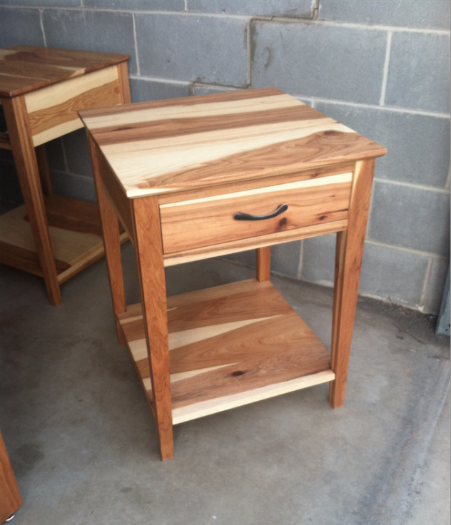 """Hickory """"Shaker"""" Nightstand with Coral Inlay"""