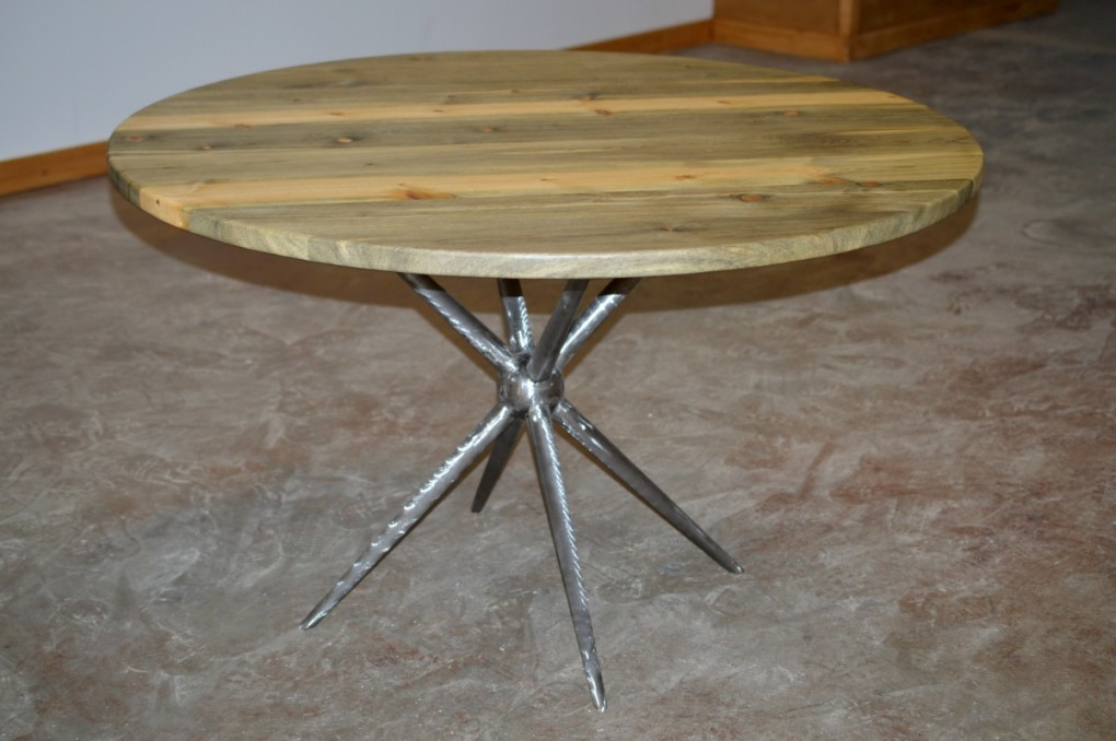 "Solid Beetlekill ""Flatiron"" Table on Steel Asterisk Base"