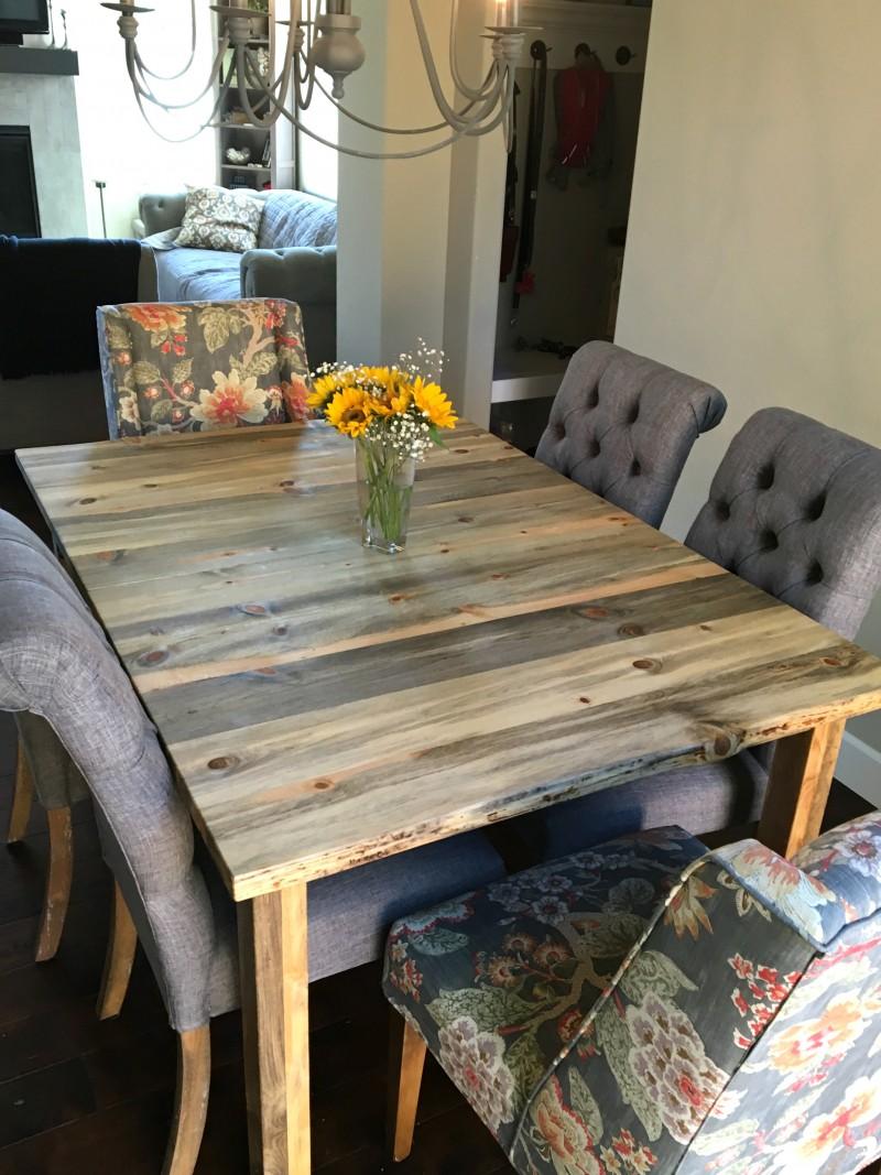 """Solid Beetlekill """"Mission"""" Table with LiveEdge & leaf"""