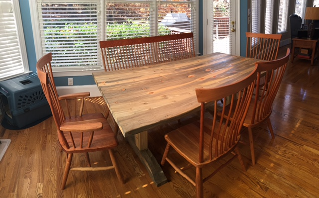 "Solid Beetlekill ""Shaker"" Trestle Table"