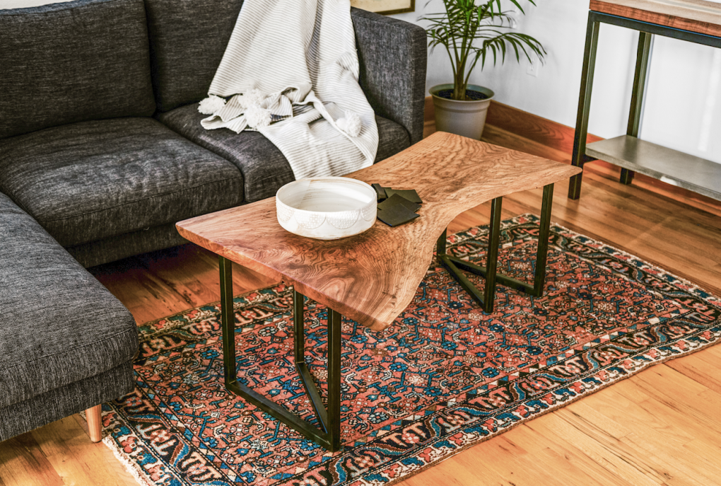 Solid LiveEdge Birdseye Elm Coffe Table on V-Shape Steel Legs
