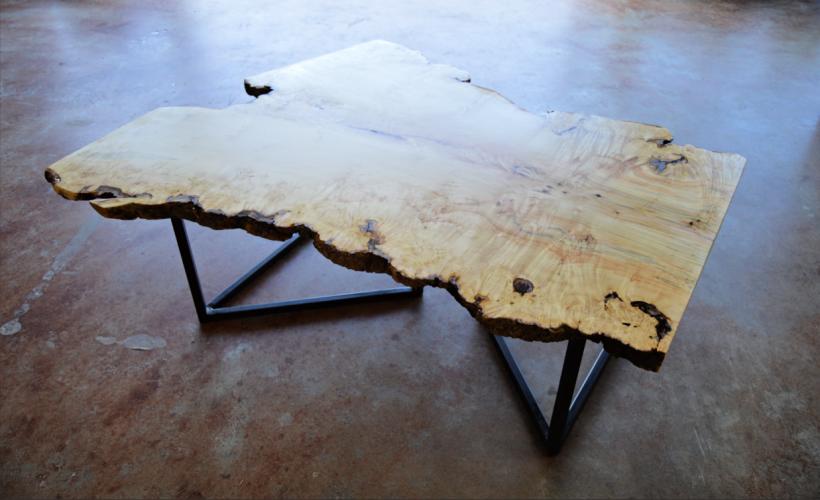 "Solid Box Elder ""Flatiron"" Coffee Table on Steel ""V"" Legs"