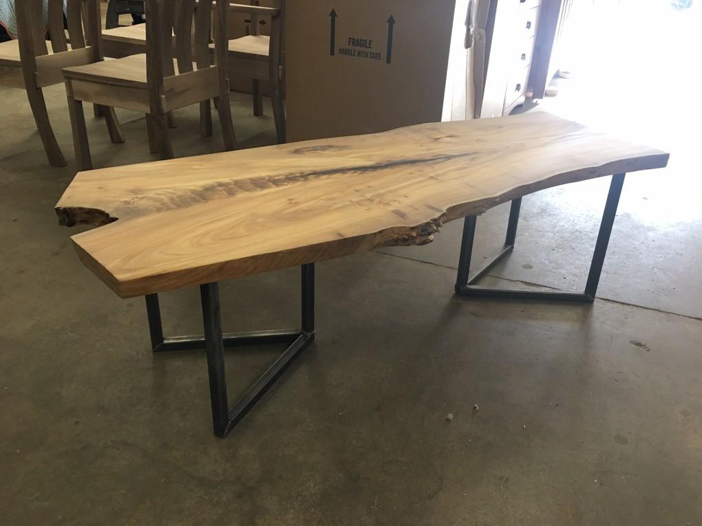 """Solid Elm """"Flatiron"""" LiveEdge Coffee Table on Steel V Legs"""
