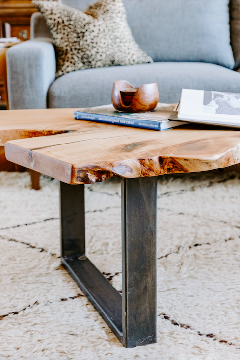 "Solid Maple ""Flatiron"" LiveEdge Coffee Table on U-Shape Legs"