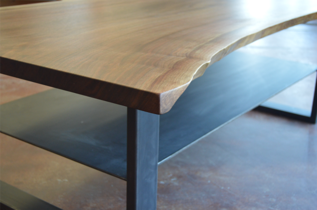 "Solid Elm ""Flatiron"" LiveEdge Coffee Table with Steel U Legs + Steel Shelf"