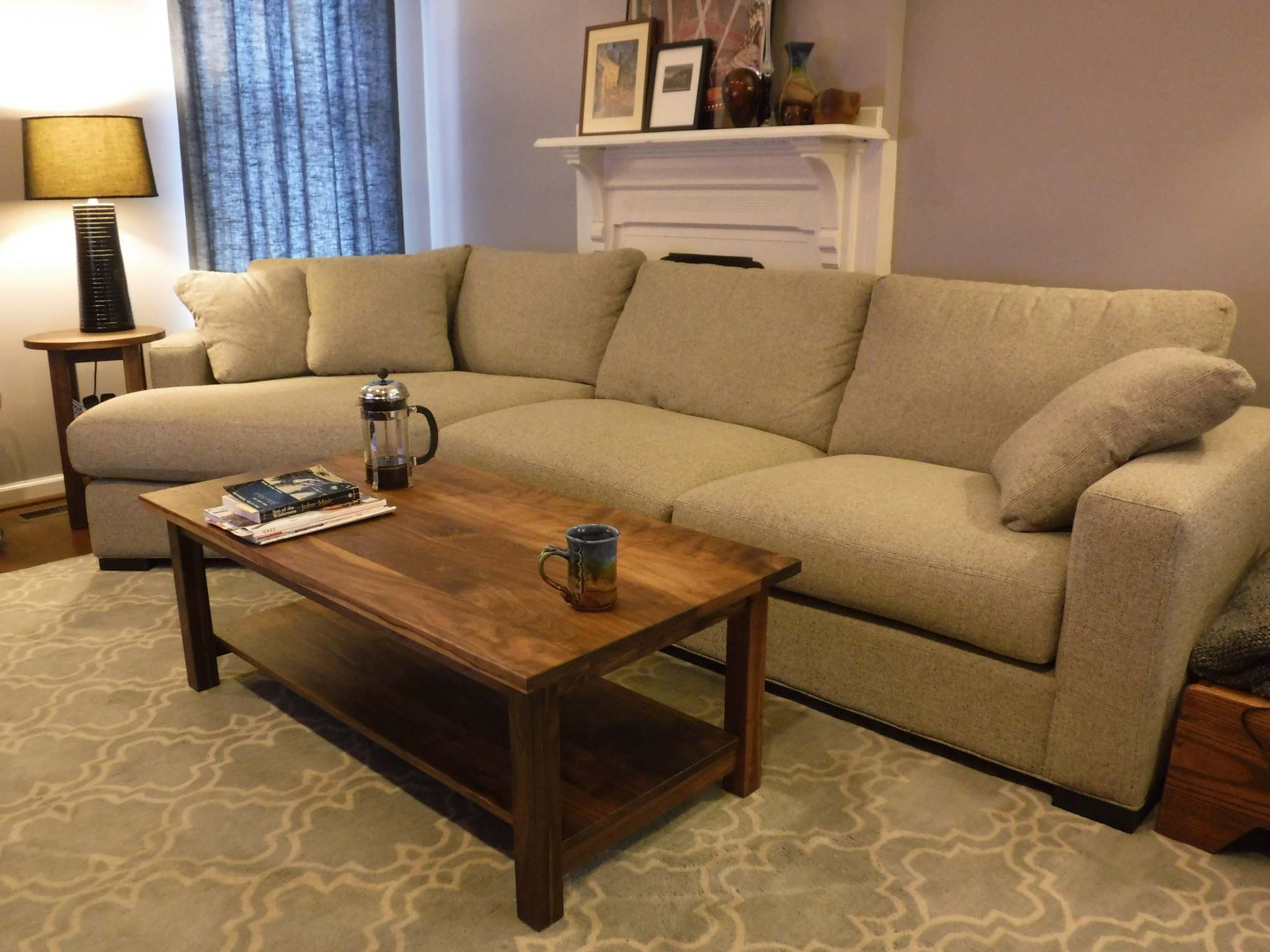 Solid walnut mission coffee table and round end table boulder 2048 1536 in coffee and occasional tables geotapseo Images