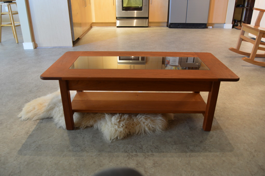 Custom Solid Cherry & Glass Shadowbox Coffee Table