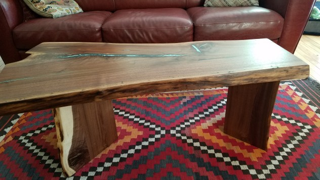 "Solid Walnut ""LiveEdge"" Coffee Table with Turquoise Inlay"