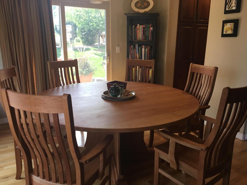 """Solid Cherry """"Craftsman"""" Round Pedestal Table"""